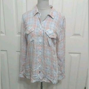 Rails M pink blue soft plaid button front shirt
